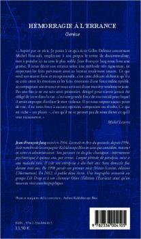 Hémorragie à l'errance - Genèse - Jean-François Jacq - L'harmattan